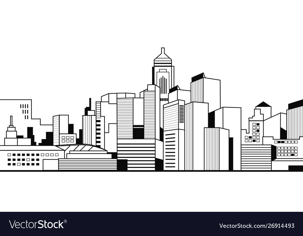 Modern city buildings high skyscrapers view