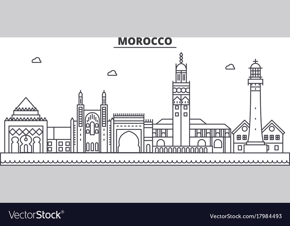 morocco architecture line skyline royalty free vector image