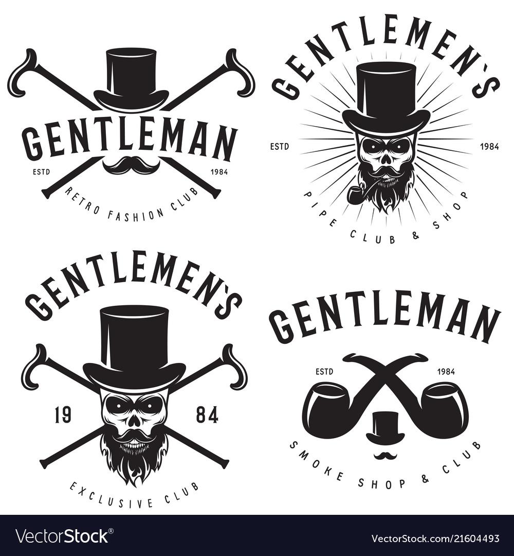 Retro badges or labels set for gentleman club