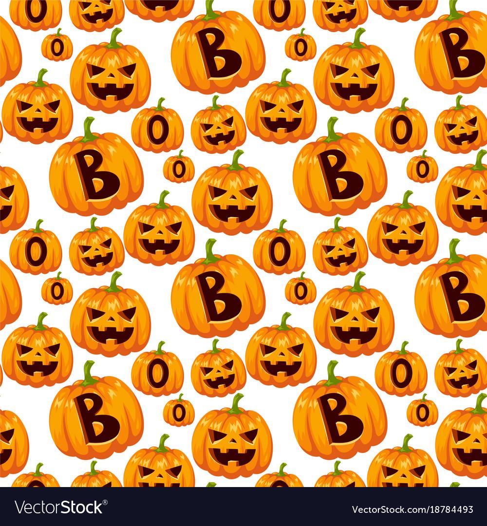Seamless pattern with halloween pumpkins