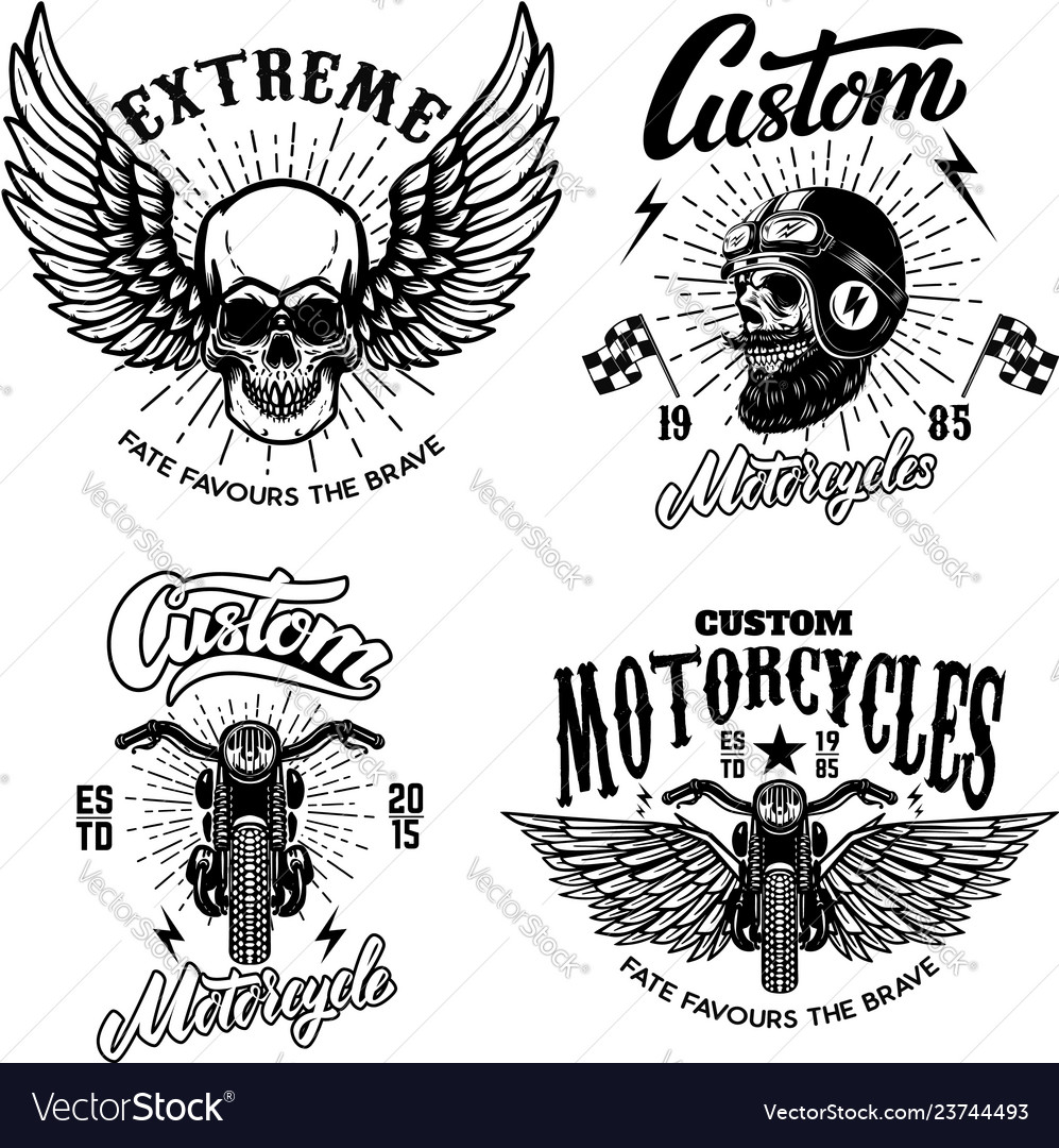 Set racer emblem templates with motorcycle
