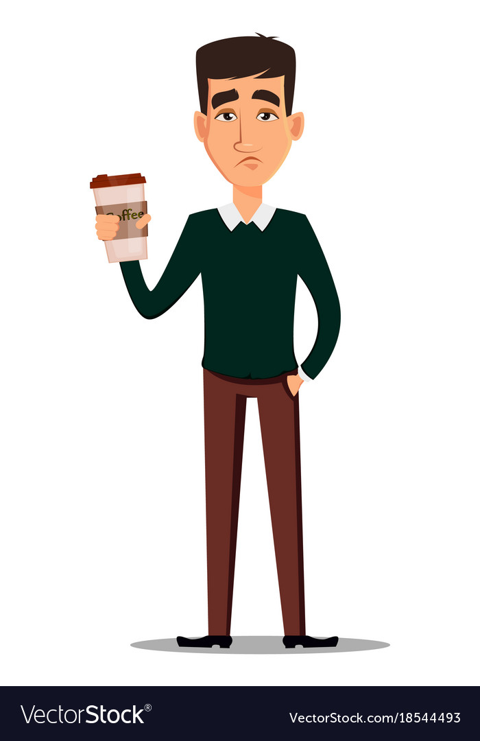 Young handsome sad businessman in smart casual vector image