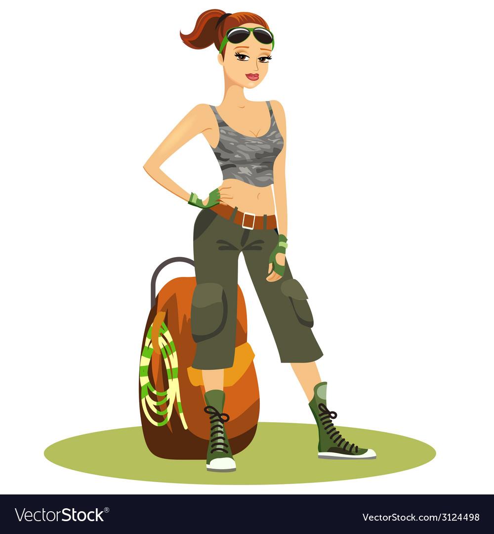 Beautiful young female backpacker