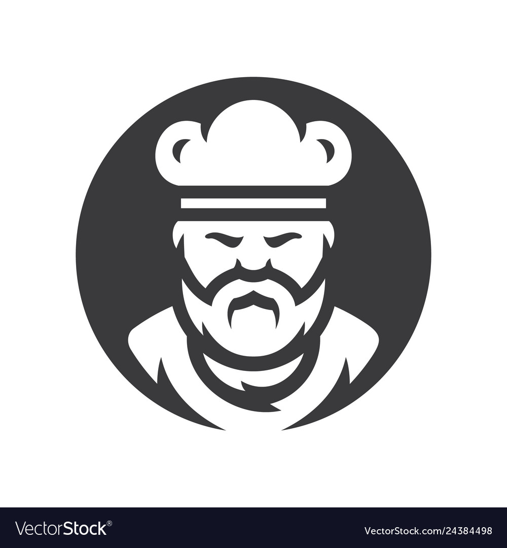 Chef in a cook hat silhouette sign