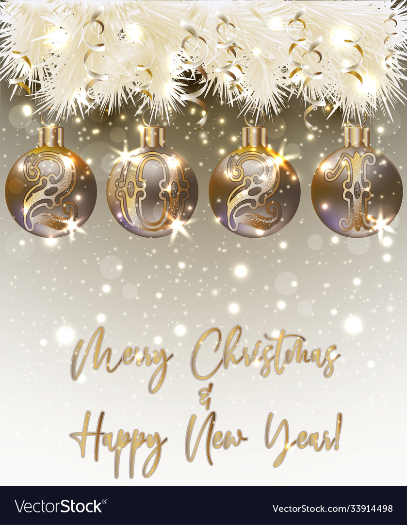 Christmas Card 2021 Merry Christmas Happy New 2021 Year Greeting Card Vector Image