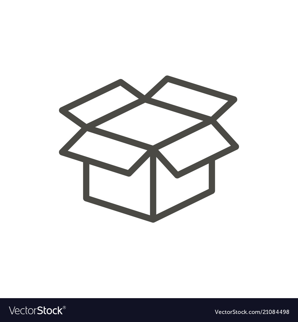Open Box Icon Line Package Symbol Royalty Free Vector Image