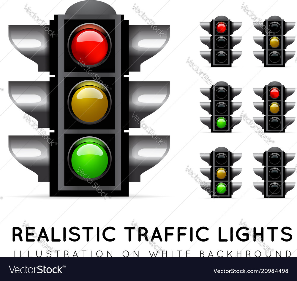 Realistic traffic light on a white background in vector image