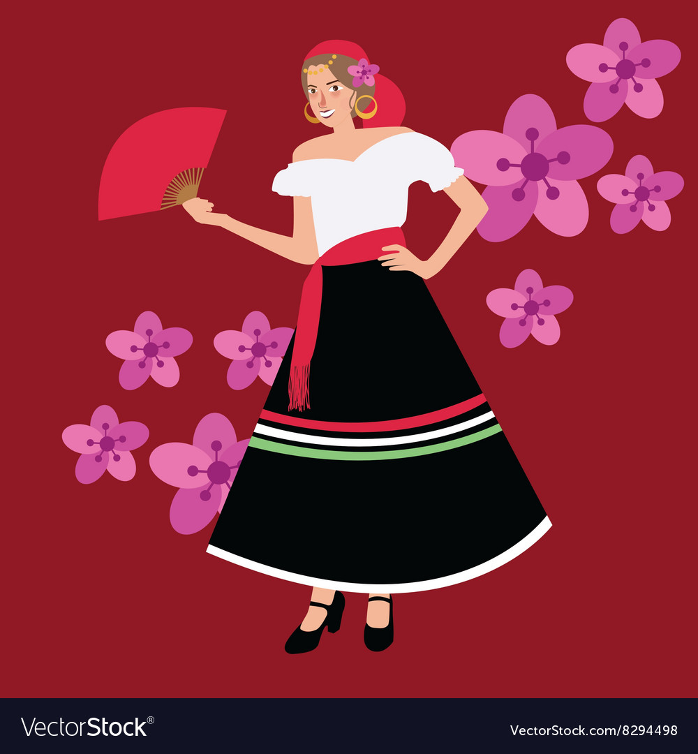 Traditional spanish spain costume iypsy girl woman