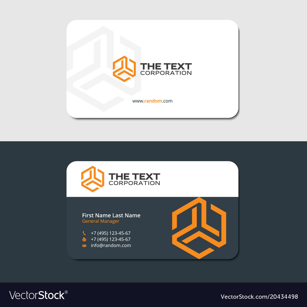 Two sided business card yellow hexagon Royalty Free Vector