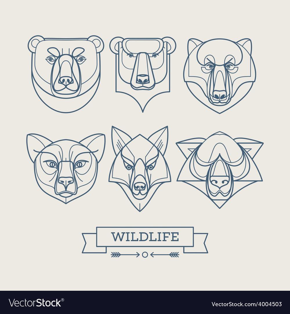 Animals linear art icons
