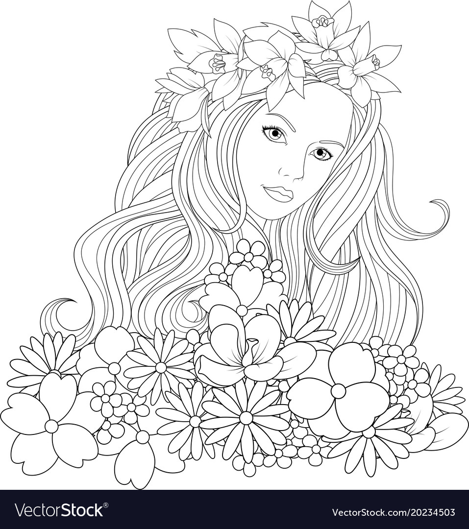 Beautiful girl coloring pages vector image