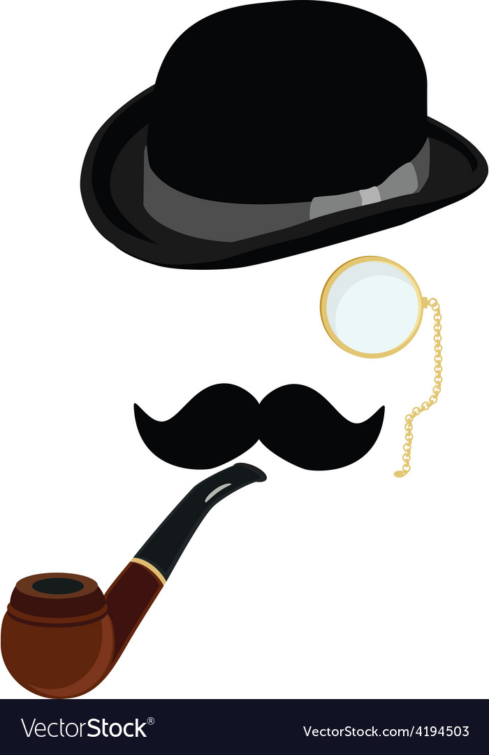 Bowler hat smoking pipemustache and monocle
