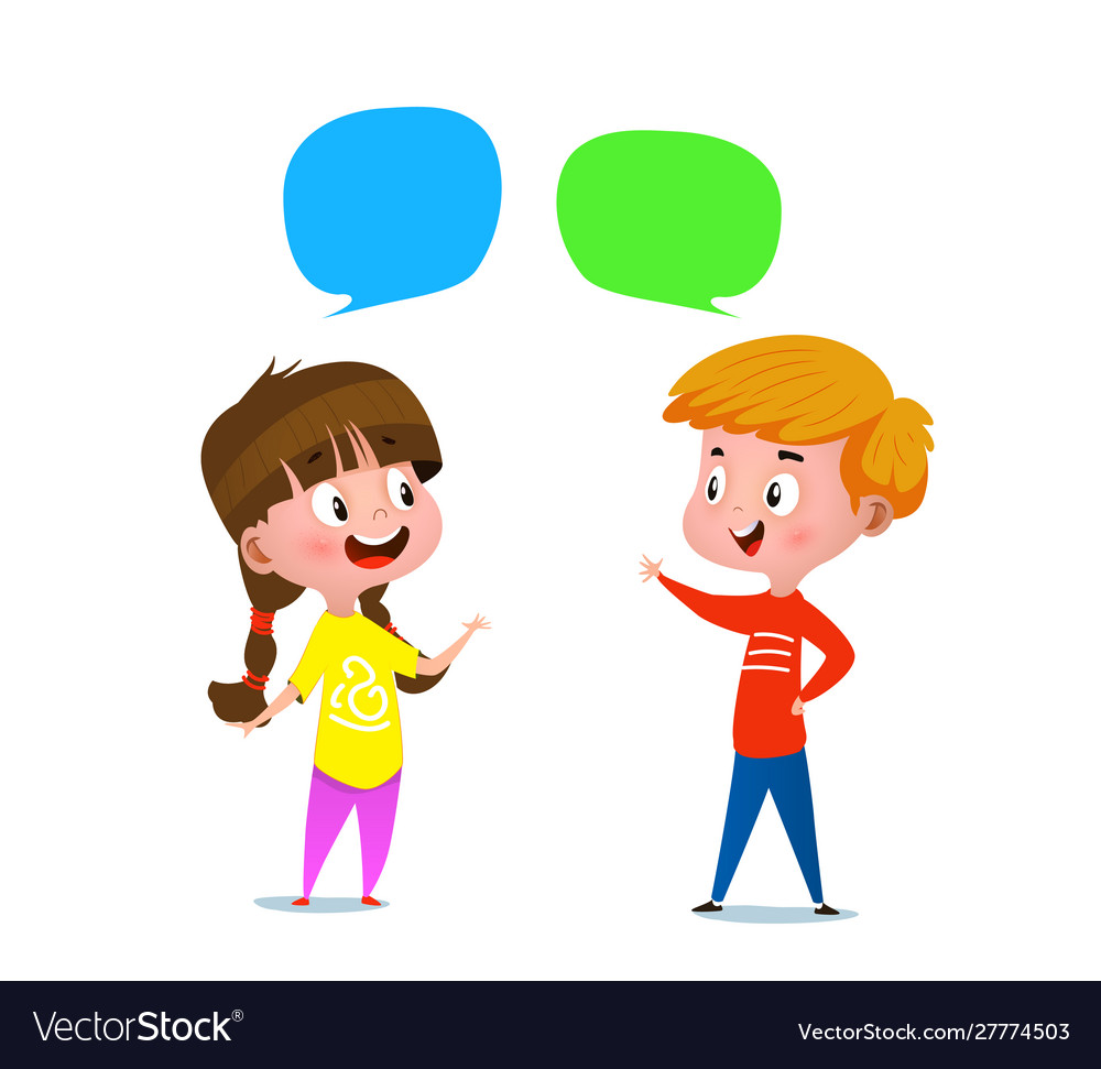 Boy and a girl talking to each other Royalty Free Vector