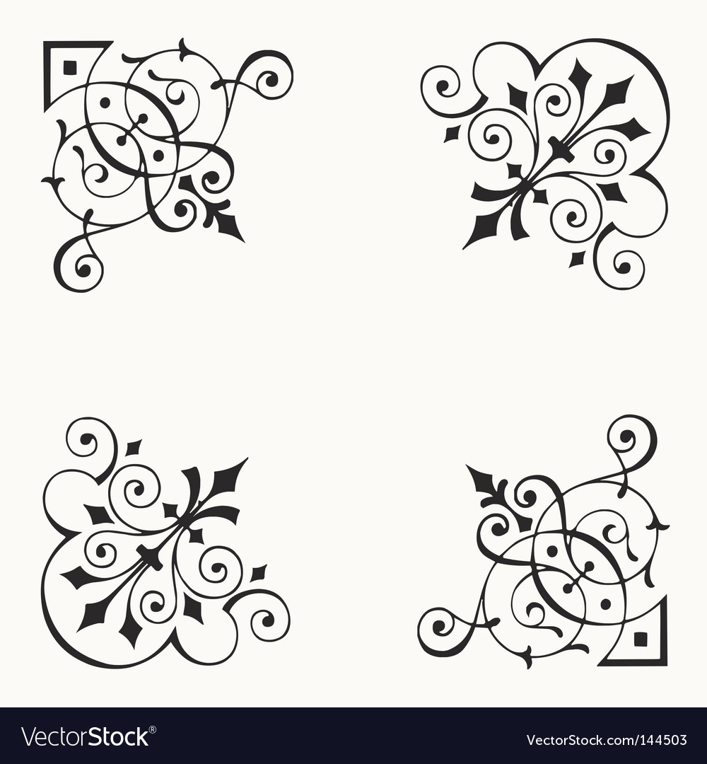 Corner border elements vector image