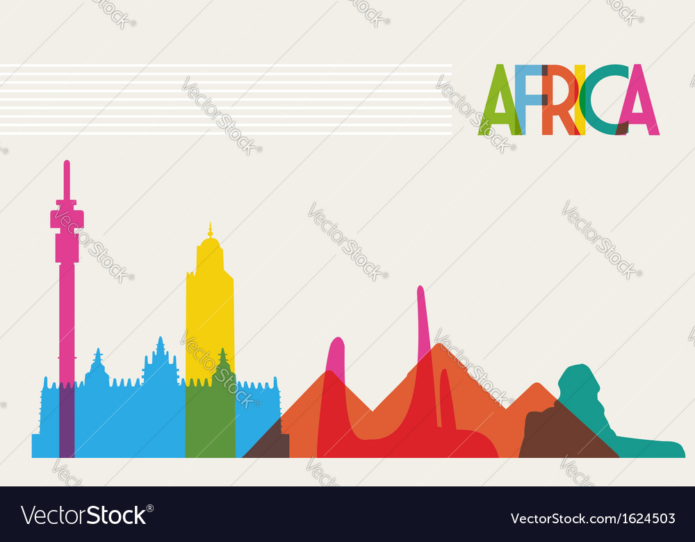 Diversity monuments of Africa famous landmark vector image