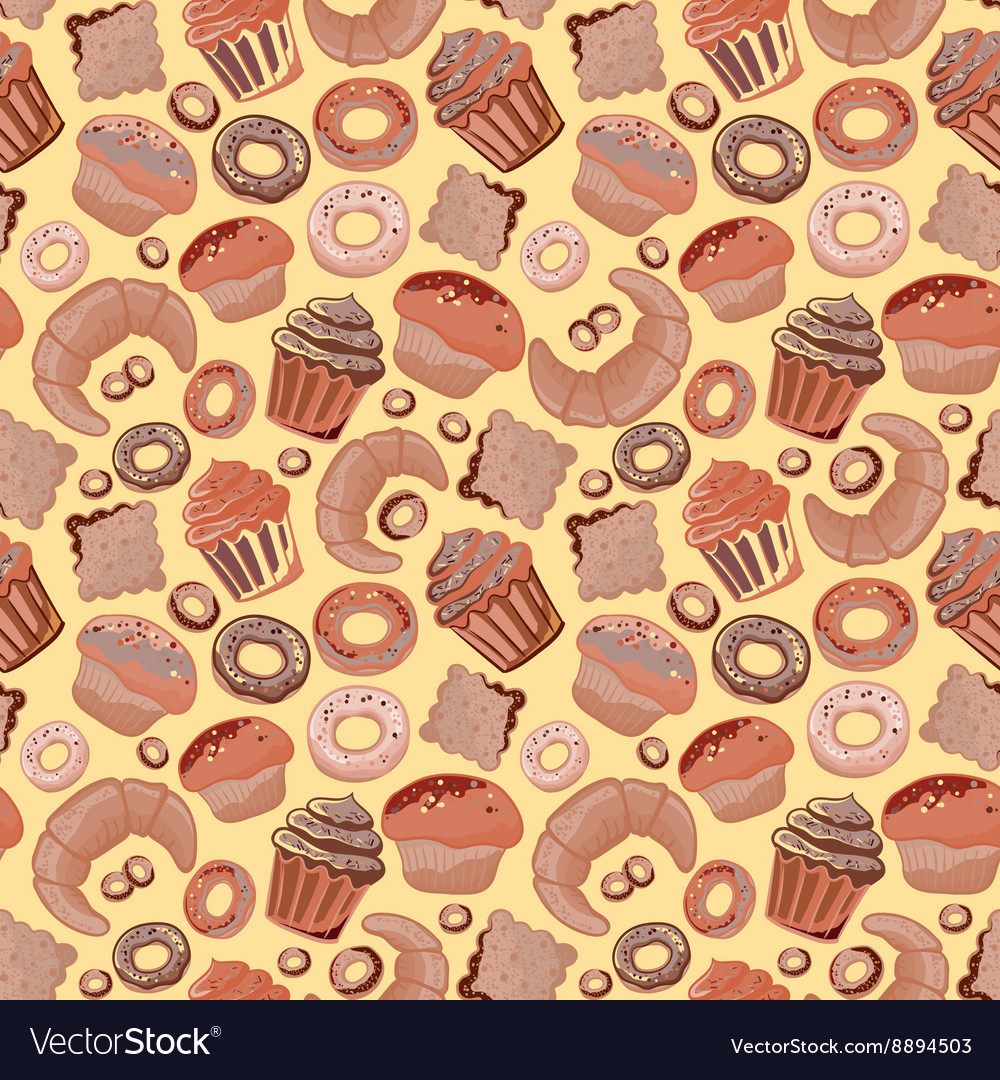 Food bakery seamless pattern with baked