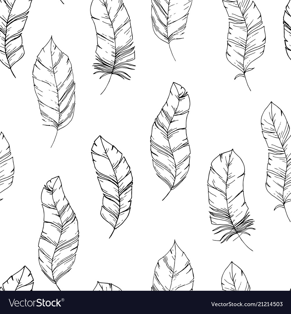 Hand-drawn seamless pattern with sketch style bird