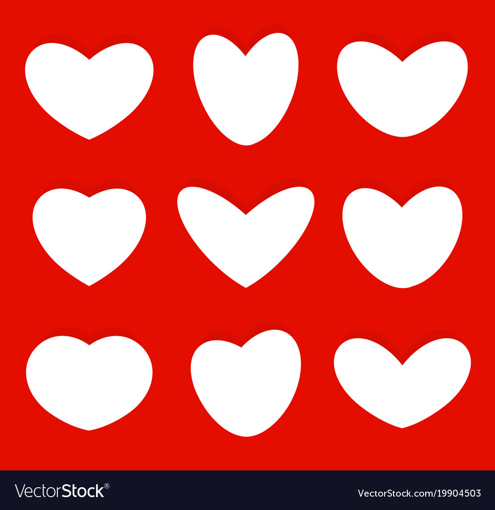 hearts shapes icons collection love symbols set vector image