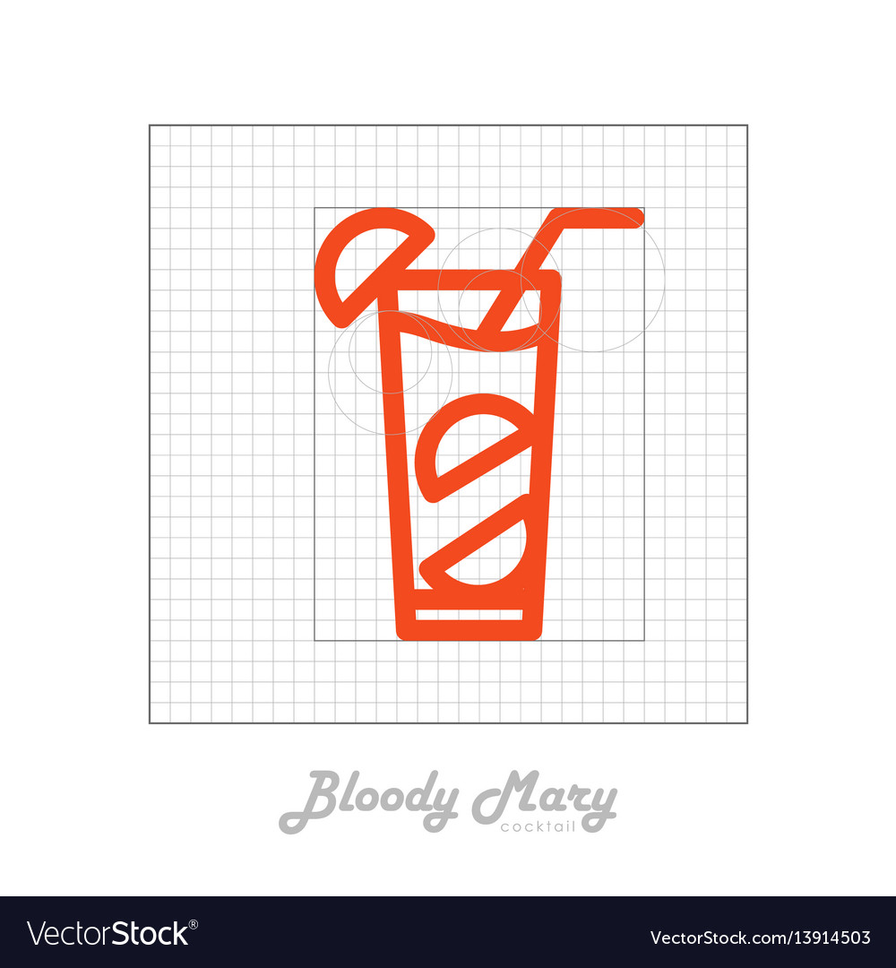 Icon of cocktail with modular grid bloody mary vector image