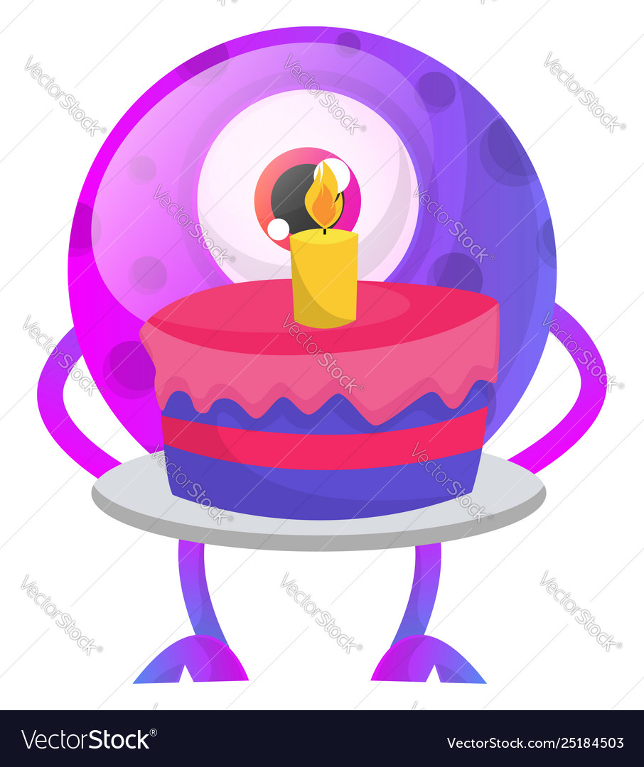 Sensational Purple Monster With Birthday Cake On White Vector Image Personalised Birthday Cards Arneslily Jamesorg
