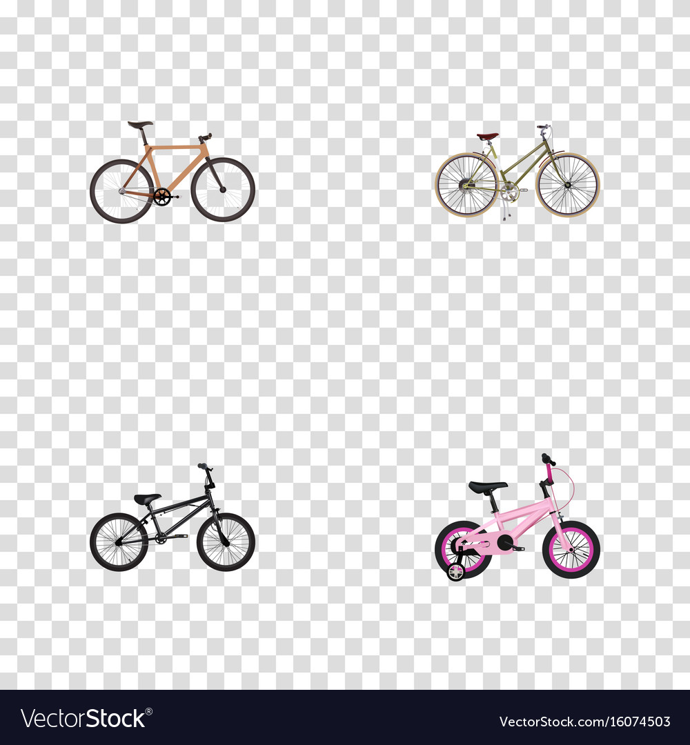 Realistic extreme biking timbered childlike and vector image