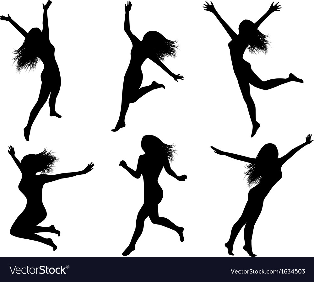 Set Silhouettes Of Jumping Women Royalty Free Vector Image