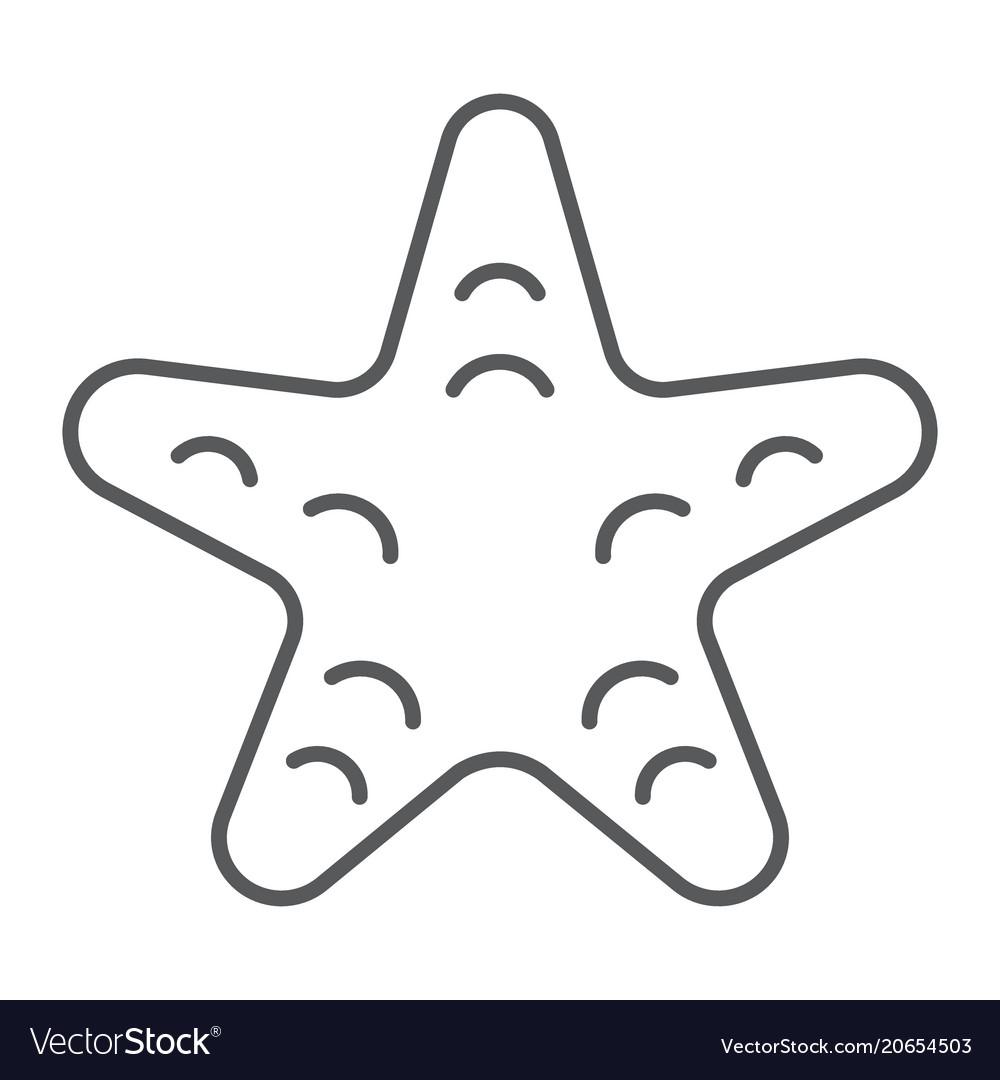 Starfish thin line icon animal and underwater