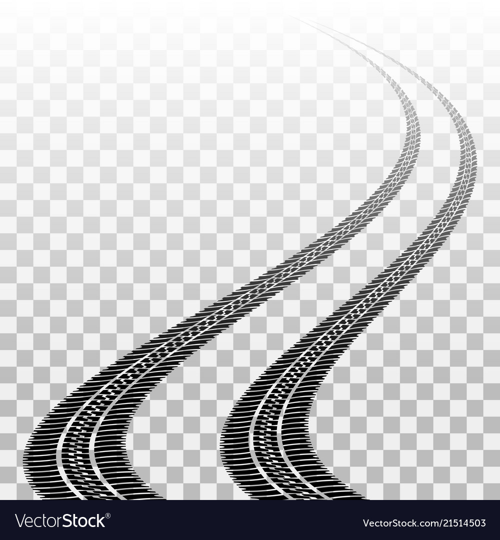 Winding tire tracks on transparent