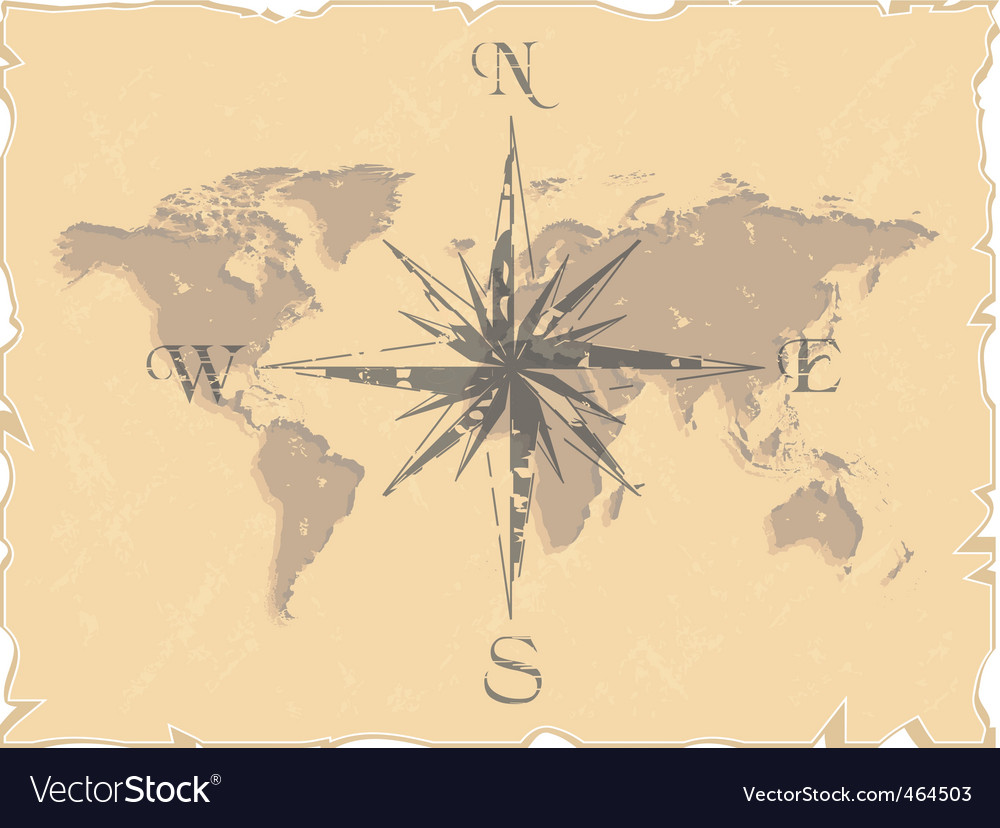 World map with compass Royalty Free Vector Image