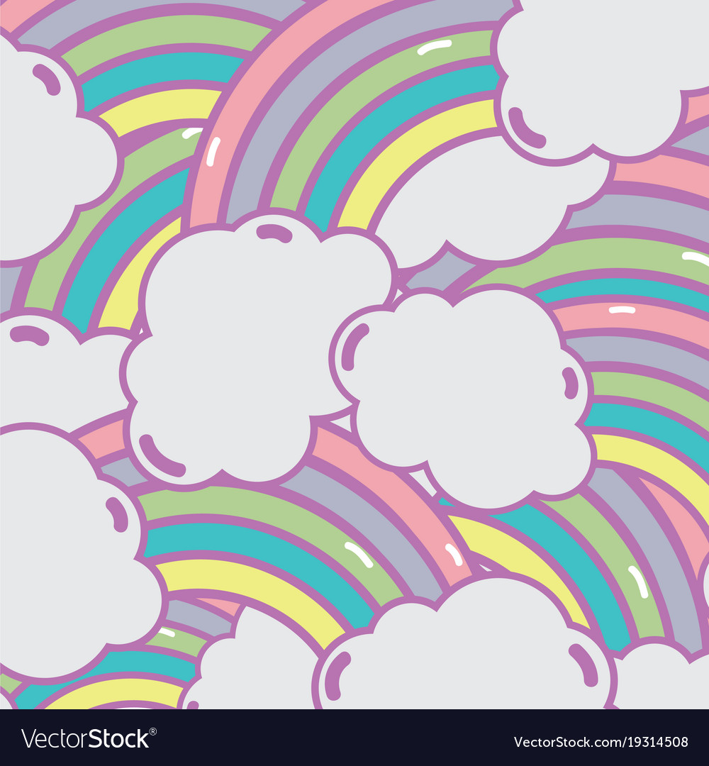 Cute Rainbow With Clouds Background Design Vector Image