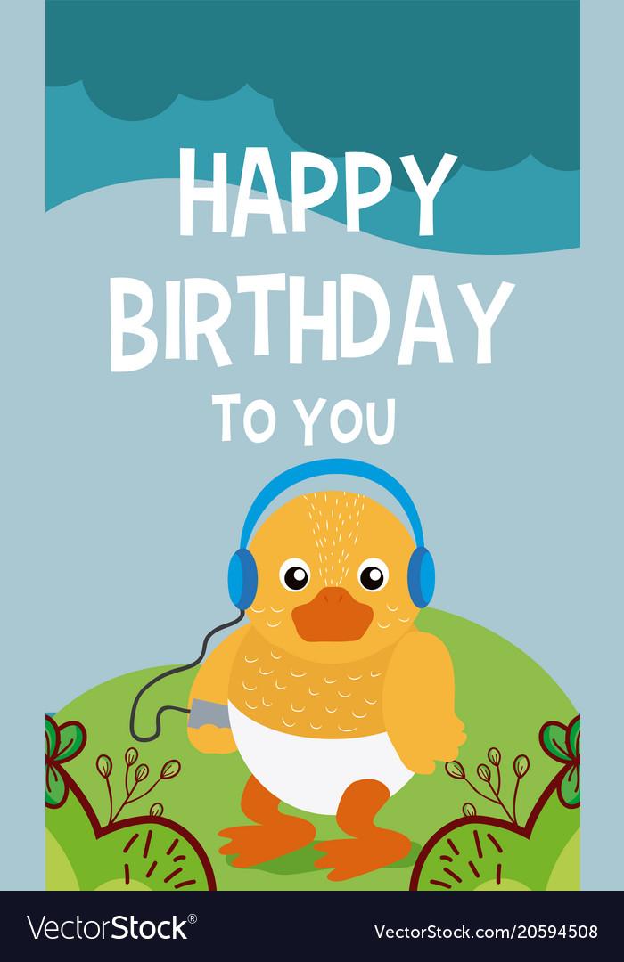 Duck Cute Animal Birthday Card Royalty Free Vector Image