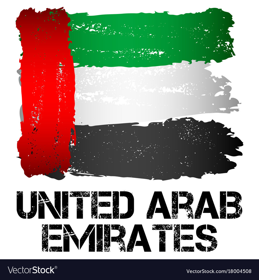 Flag of uae from brush strokes vector image