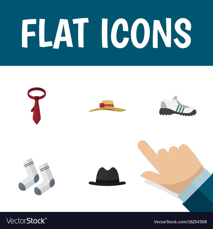 Flat icon clothes set of elegant headgear