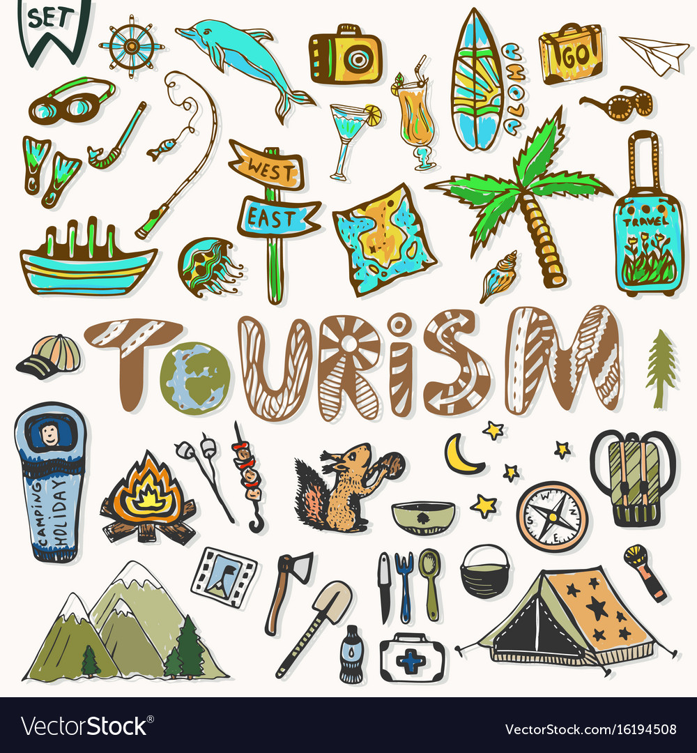 Hand draw travel icons set summer holiday vector image