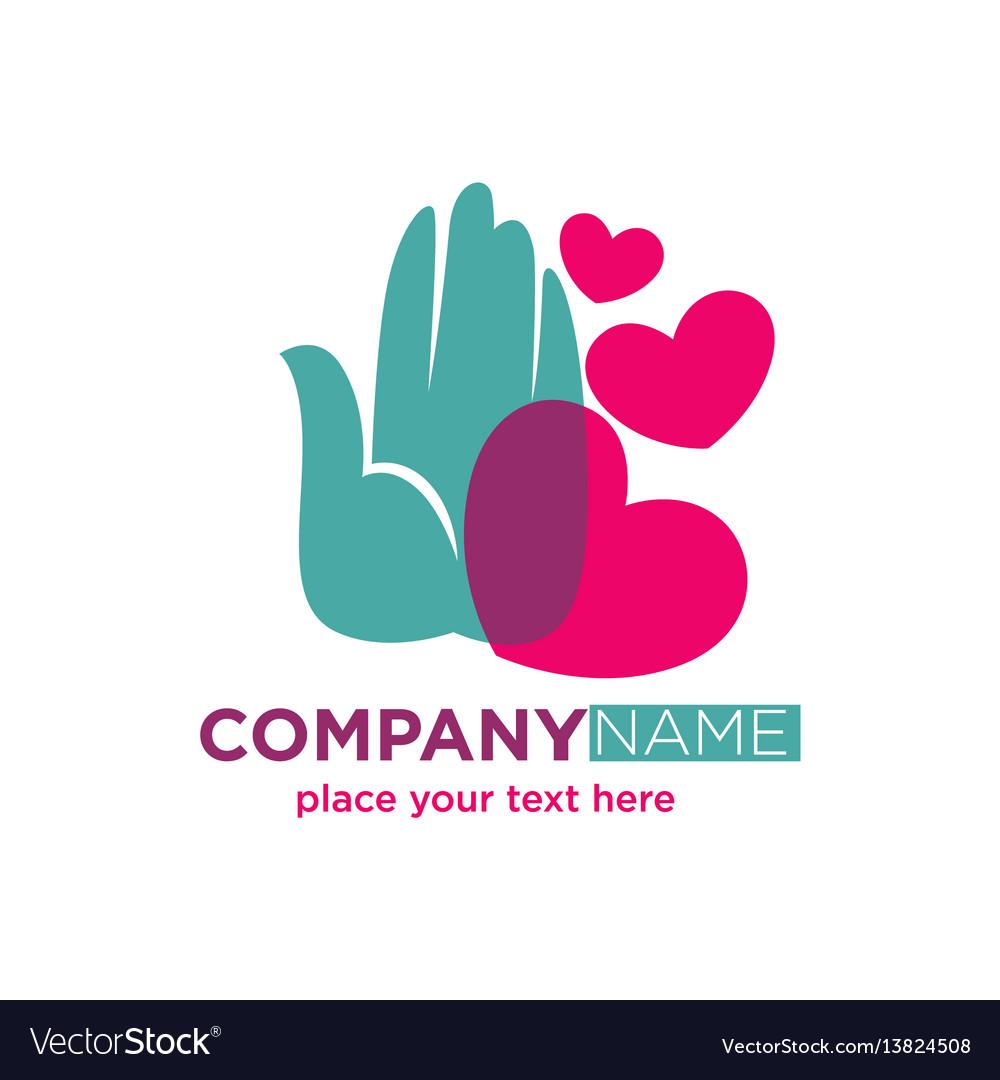 Human hand with hearts company logotype design