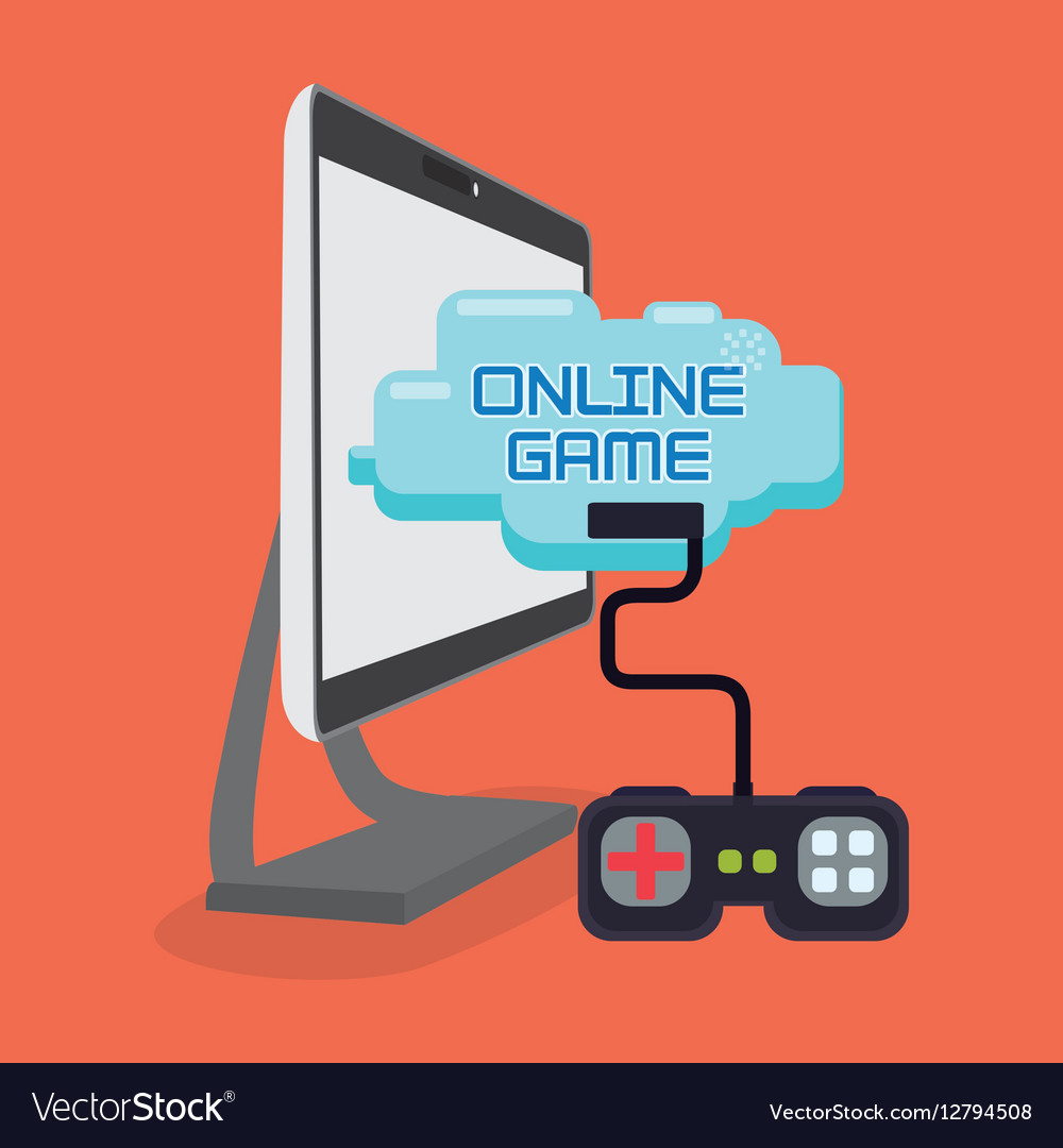 Online game play control console vector image