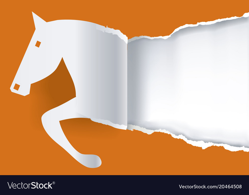 Paper horse ripping paper background vector image