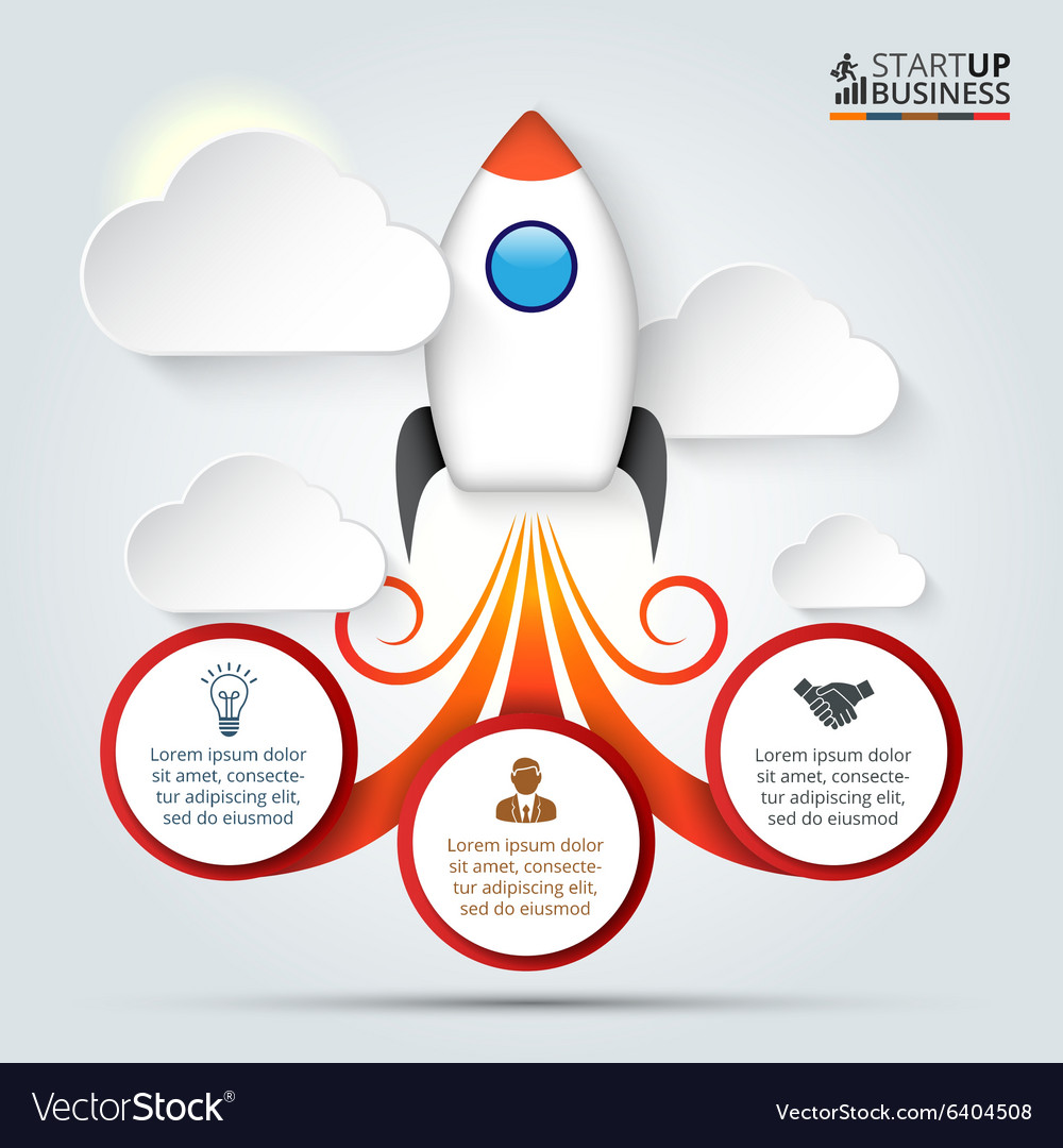 Rocket for infographic vector image