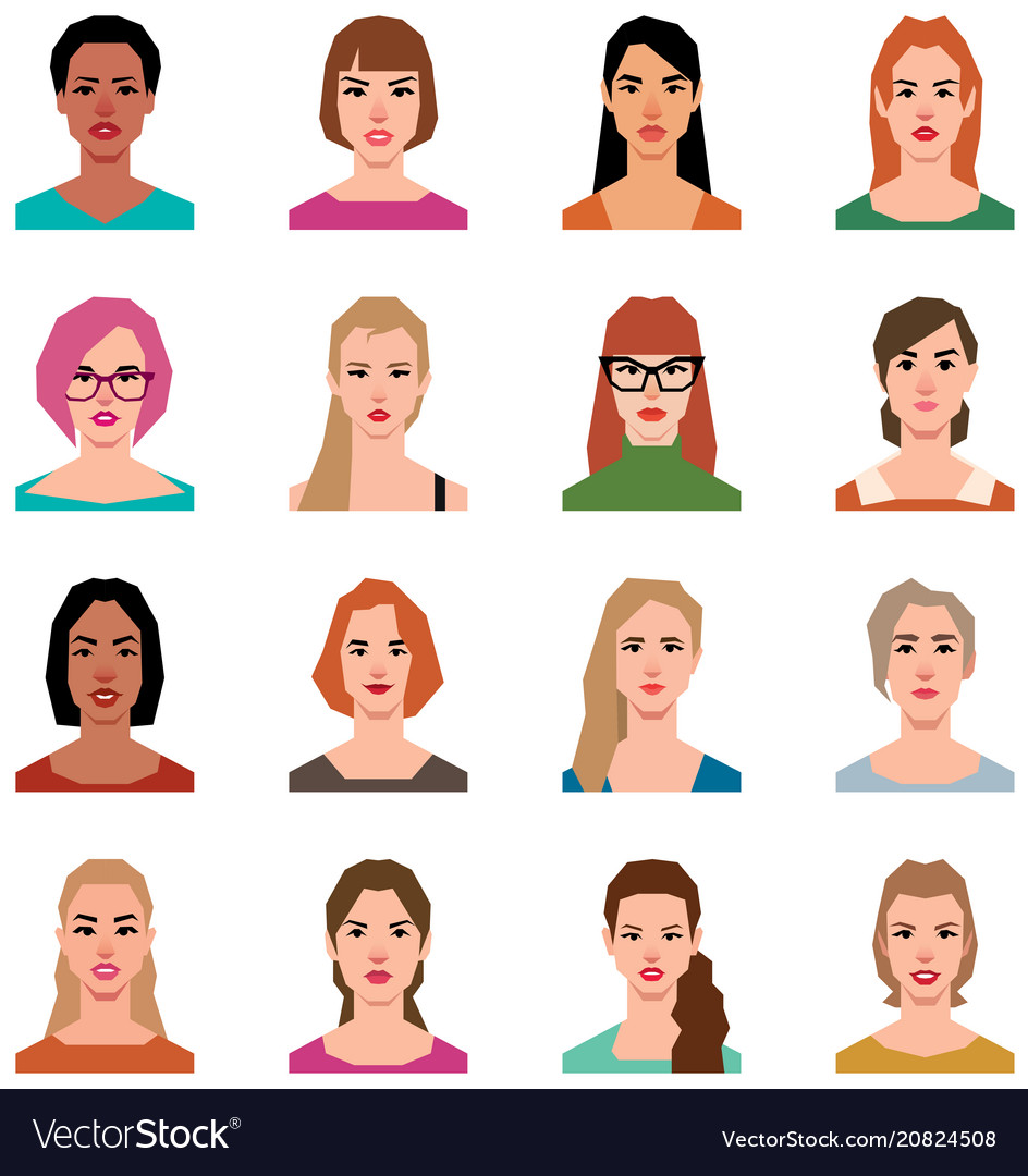 Set of avatars of women in a flat style