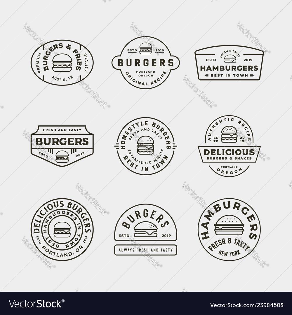 Set of burger logos retro styled fast food