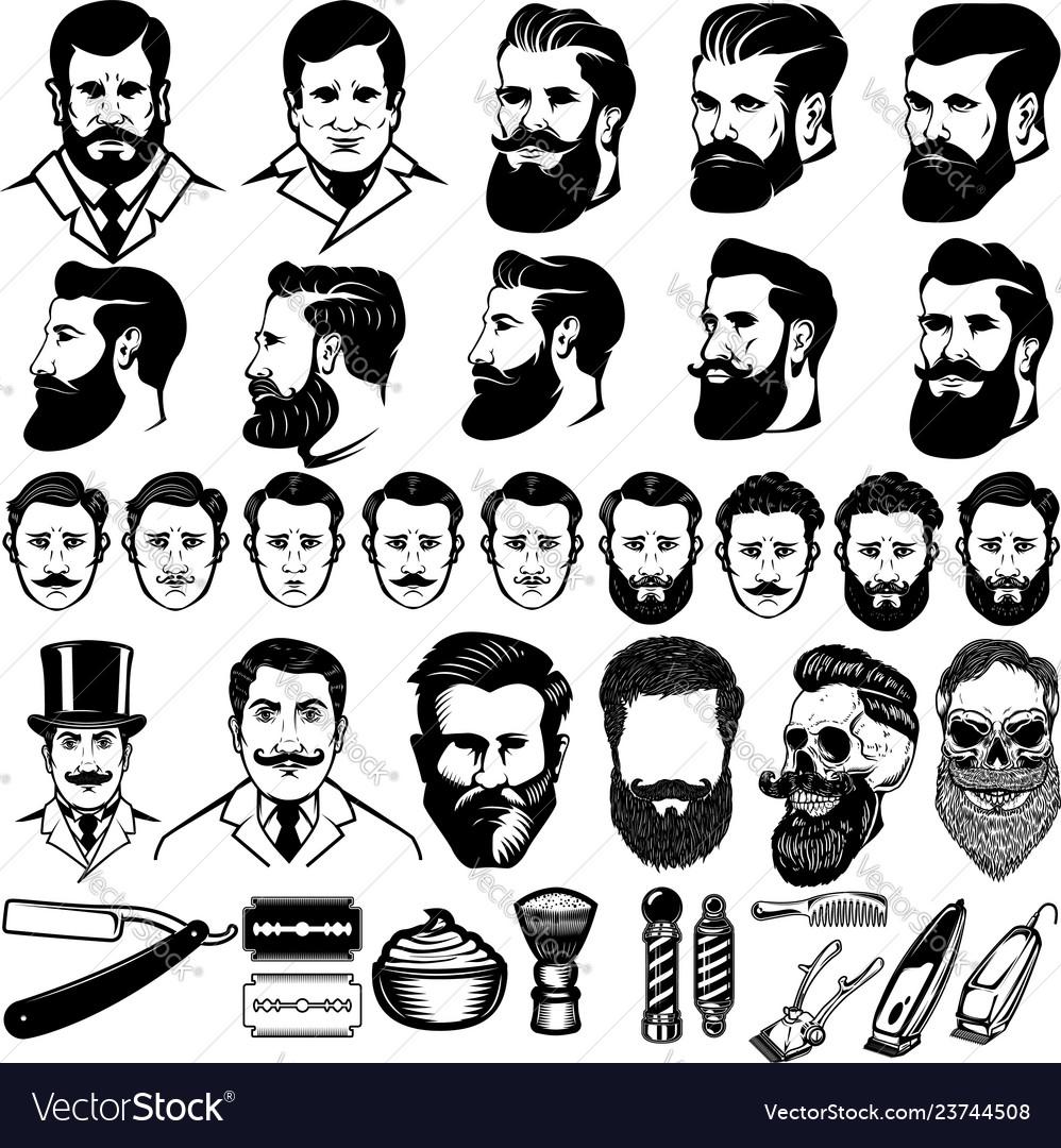 Set of vintage barber monochrome icons men