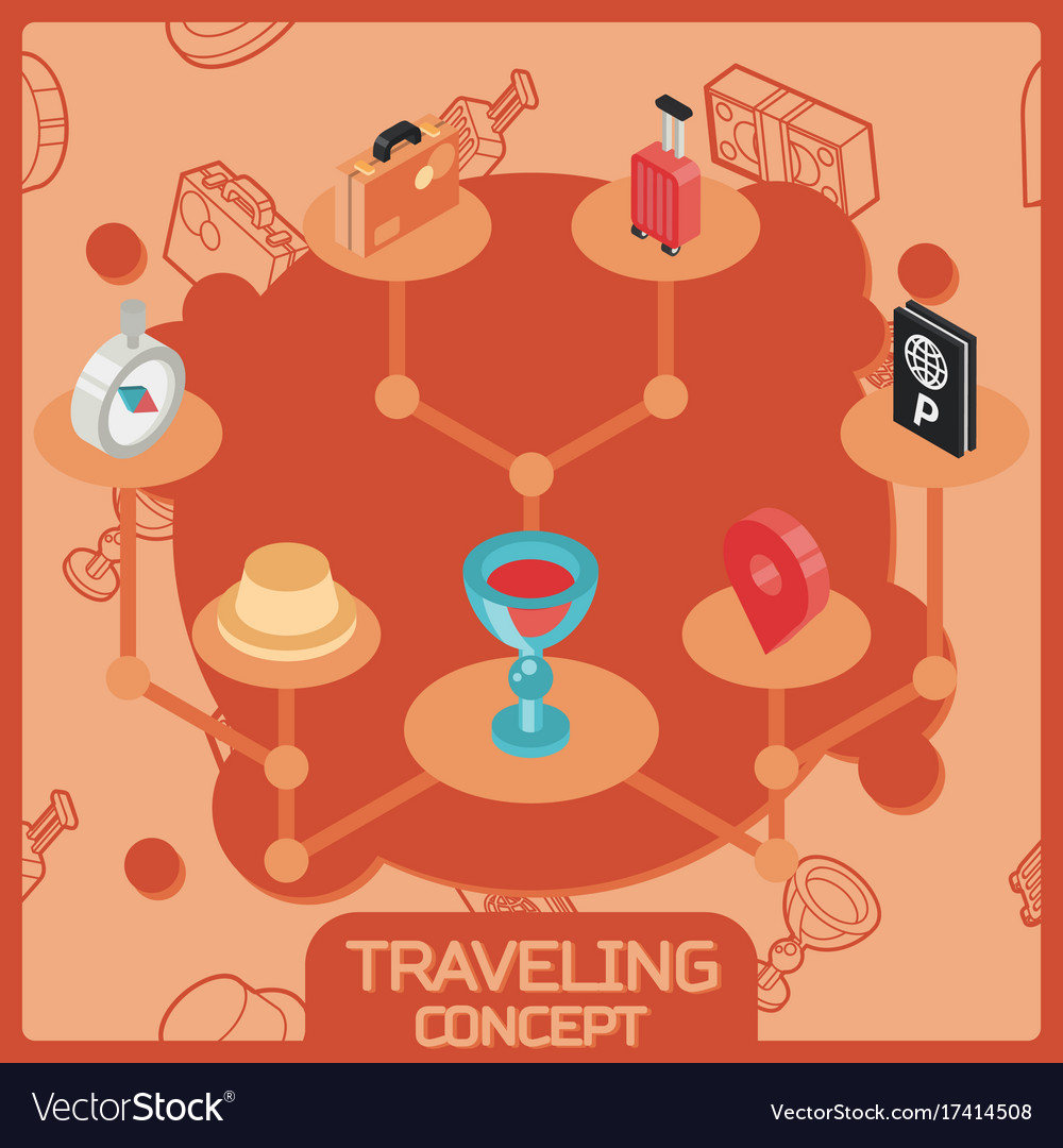 Traveling color isometric concept icons