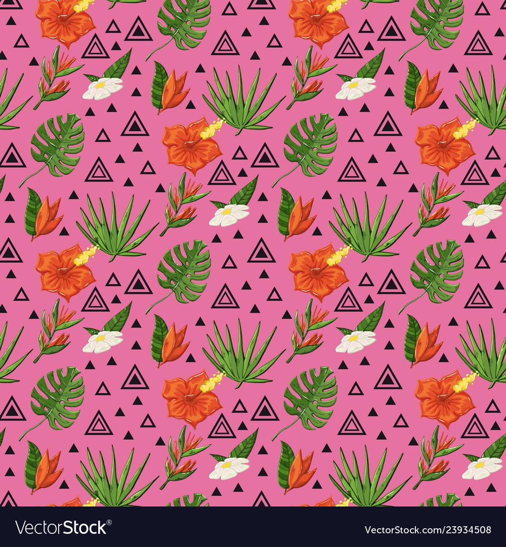 Tropical pattern with monstera