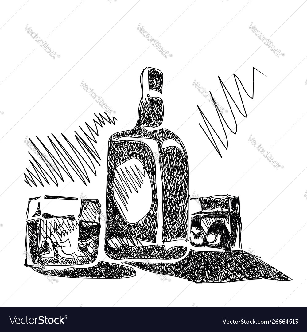 Bottle whiskey with glasses sketch