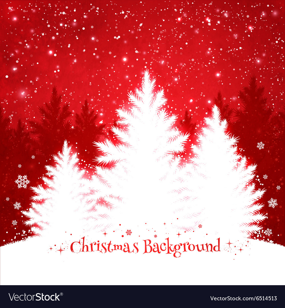 Christmas trees red and white background