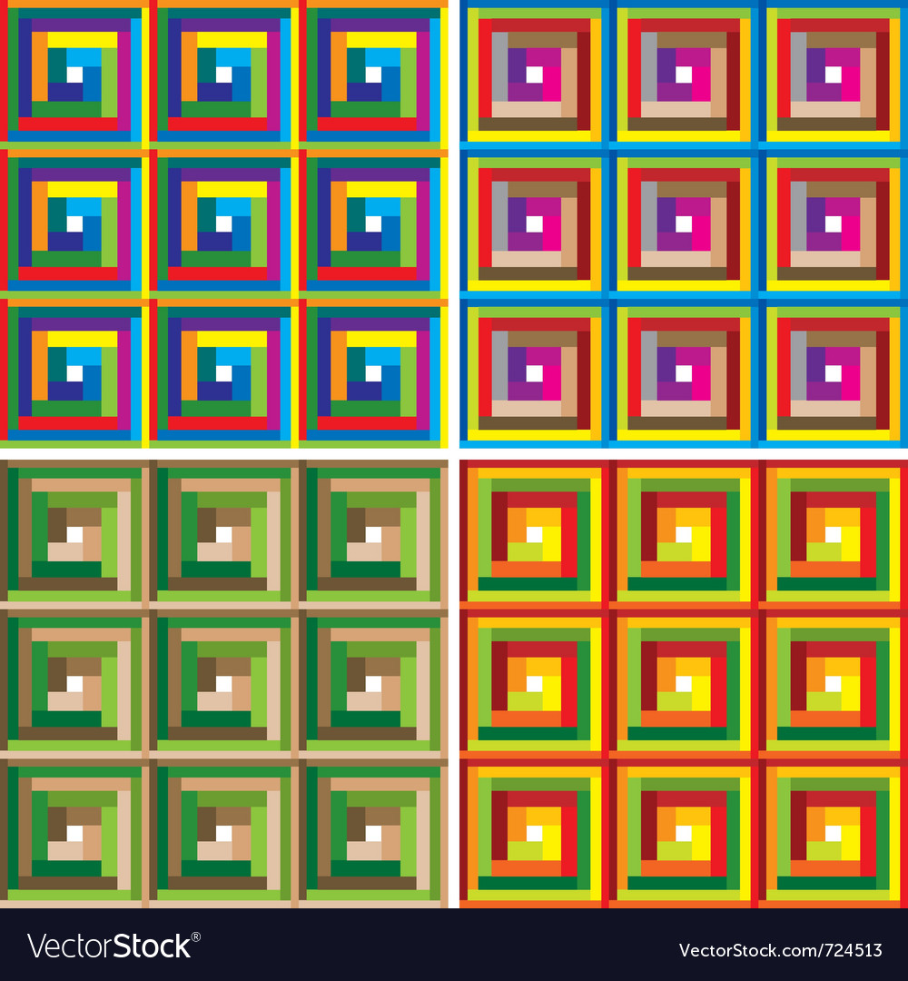 Colorful squares seamless pattern set