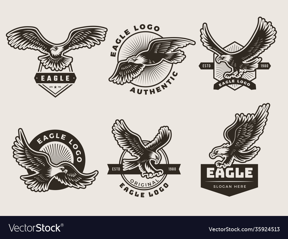 Eagles emblem stylized logotypes and badges with