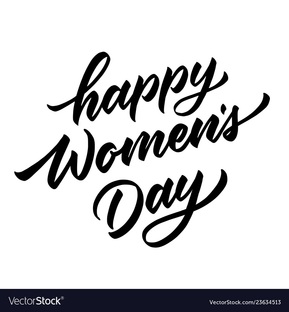 Happy womens day lettering hand drawn