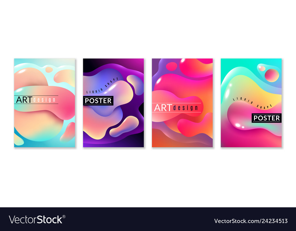 Liquid shape poster abstract fluid free shapes