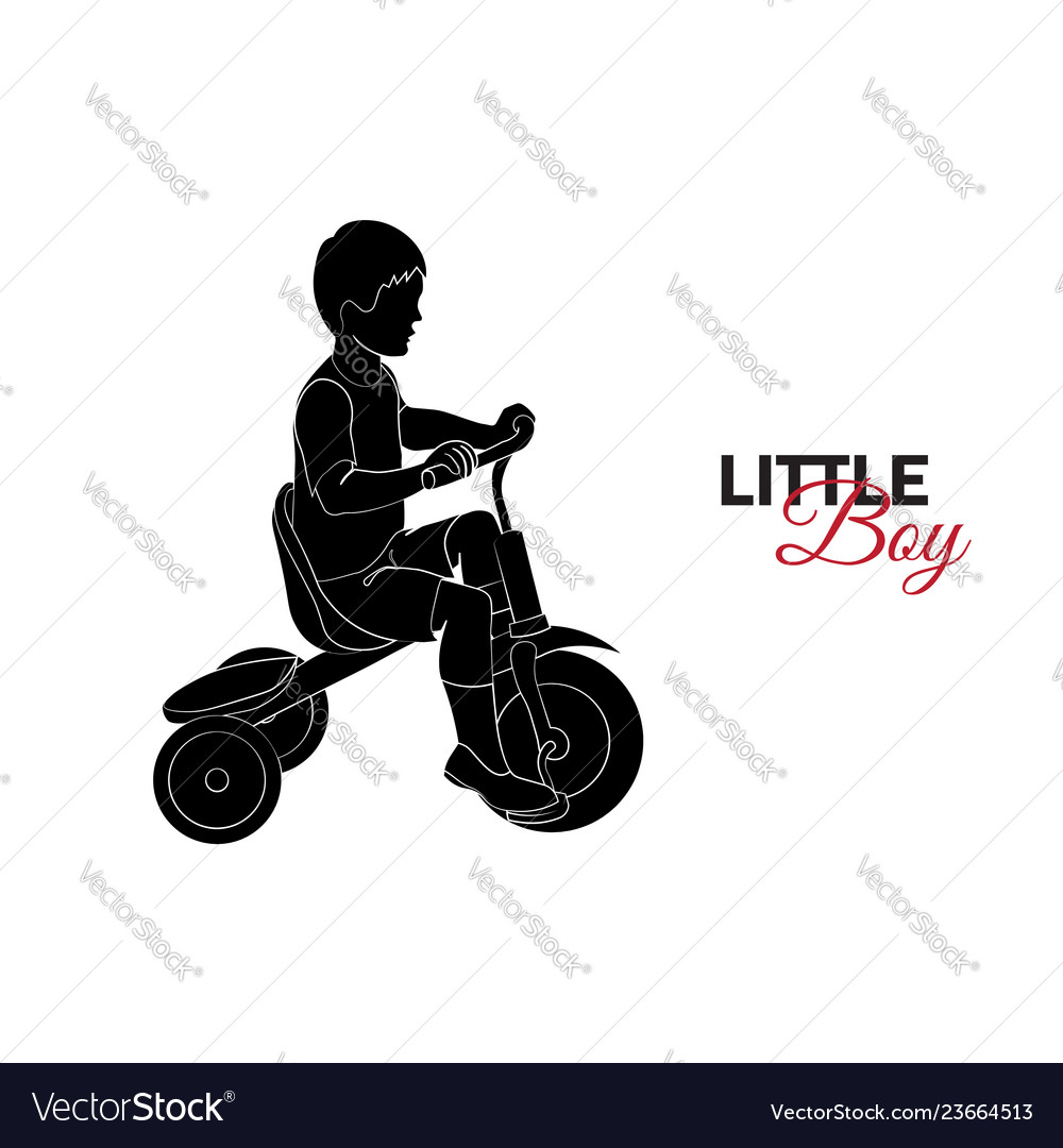 Little child baby little boy riding a bicycle